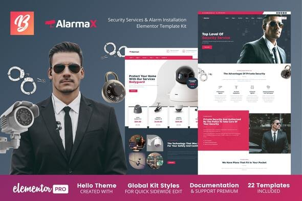 Alarmax - Security Services & Alarm Installation Elementor Template Kit - Business & Services Elementor