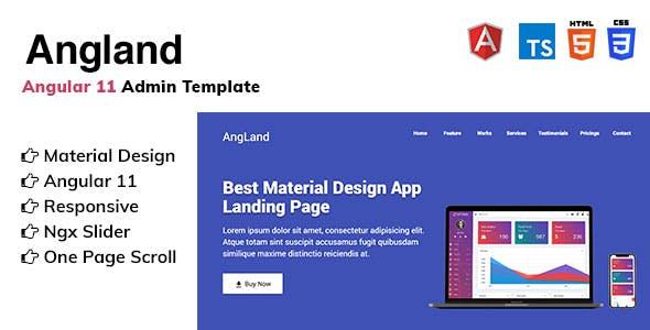 Angland -  Angular 11 App Landing Page