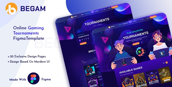 Begam - Online Gaming Tournaments Figma Template - Entertainment Figma