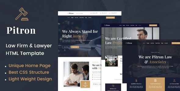 Pitron | Law Firm & Lawyer HTML Template - Business Corporate
