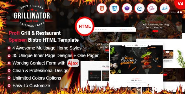 Grillinator - Food Restaurant Cafe Grill & Bistro HTML Template