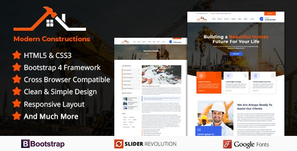 Modern Builder - Responsive HTML Template