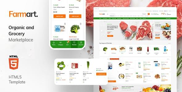 Farmart - Organic Marketplace eCommerce HTML Template + Admin Template