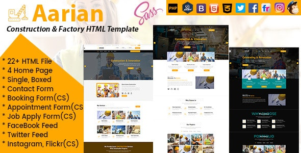 Aarian - Construction & Factory Responsive HTML 5 template - Business Corporate