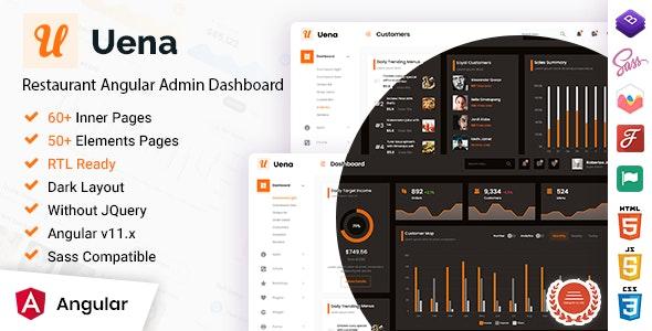 Uena - Restaurant Food Angular Admin Dashboard Template - Admin Templates Site Templates