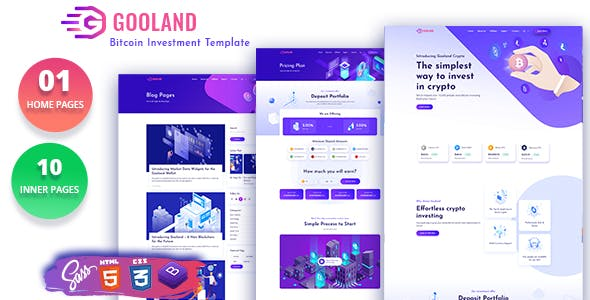 Gooland - Bitcoin Investment HTML Template