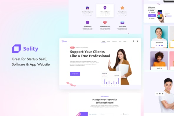 Solity | Startup SaaS Elementor Template Kit - Business & Services Elementor