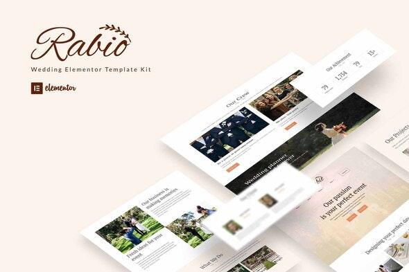 Rabio - Wedding Event Organizer Elementor Template Kit - Weddings Elementor