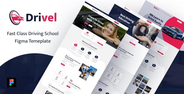 Drivel – Driving School Figma Template - Business Corporate