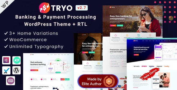 Tryo - Elementor Online Banking & Payment Processing WP Theme - Business Corporate