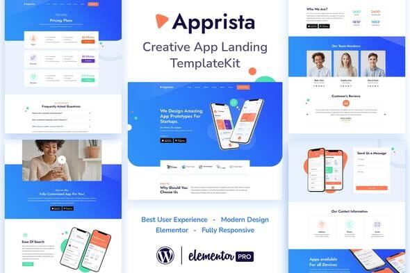 Apprista - Creative App Landing Elementor Template Kit - Technology & Apps Elementor