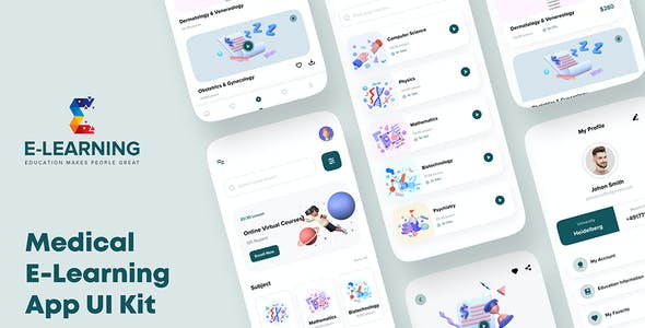 Medical e-Learning Online Course App UI kit For Sketch