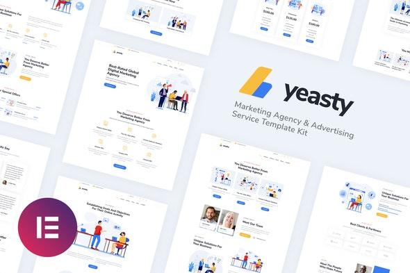 Yeasty | Marketing Agency & Advertising Service Elementor Template Kit - Creative & Design Elementor