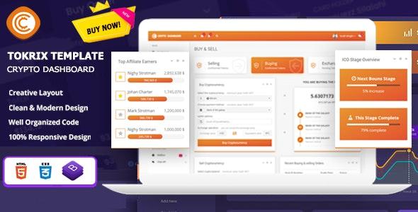 Tokrix - ICO Admin & Crypto Dashboard - Admin Templates Site Templates