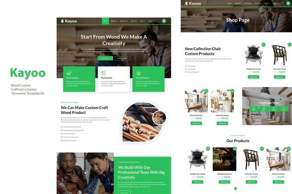 Kayoo - Wood Company Woocommerce Elementor Template Kit - Business & Services Elementor