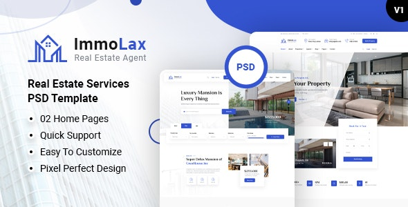 Immolax - Real Estate Services PSD Template - Business Corporate