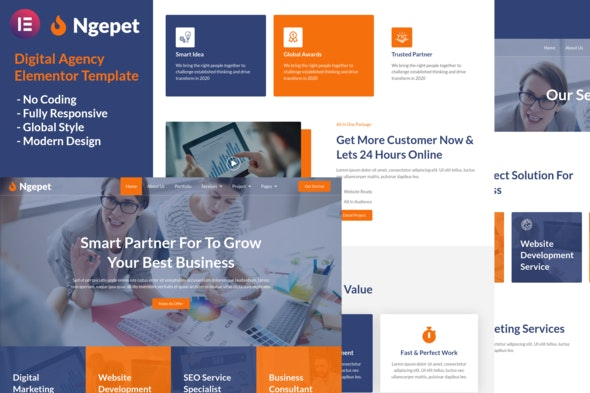 Ngepet - Creative Agency Company Elementor Template Kit - Creative & Design Elementor