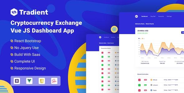 Tradient - Cryptocurrency Exchange Vue App - Admin Templates Site Templates