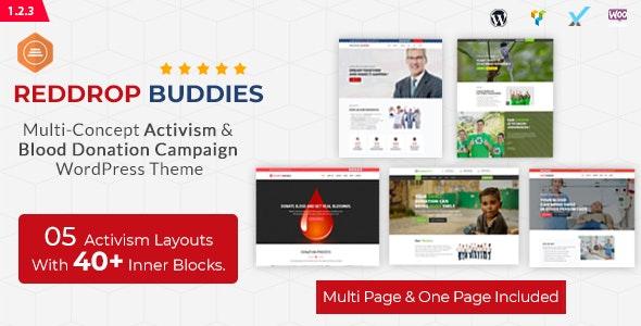 Reddrop Buddies – Multi-Concept Activism & Blood Donation Campaign WordPress Theme - Activism Nonprofit