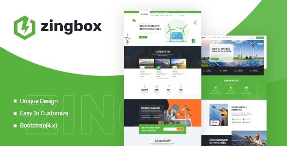 Zingbox – Wind & Solar Energy XD Template
