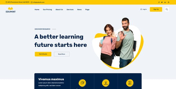 Edumint – LMS, Online Courses, Education HTML Template