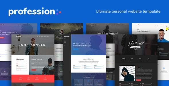 Profession - Personal Portfolio Website Template - Virtual Business Card Personal
