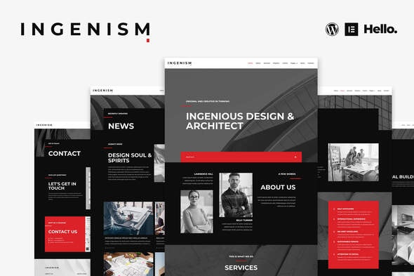 INGENISM - Architectural Design Agency Elementor Template Kit - Creative & Design Elementor