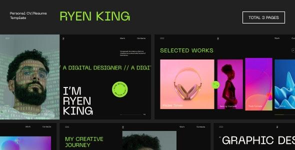 Ryen King - Personal CV/Resume Figma Template - Virtual Business Card Personal