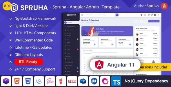 Spruha - Angular Admin & Dashboard Template - Admin Templates Site Templates