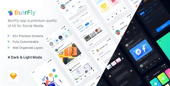ButrFly - Social UI Kit for Sketch - Sketch UI Templates