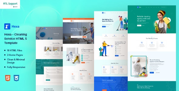 Hexa – Cleaning company HTML Template - Business Corporate