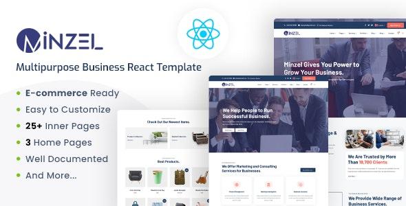 Minzel - Multipurpose React Template For Modern Business - Corporate Site Templates