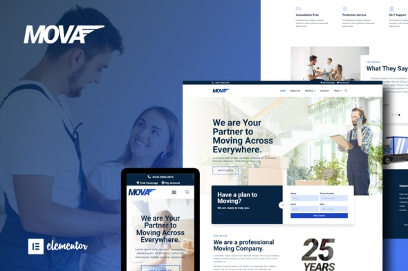 Mova - Moving Company Elementor Template Kit - Business & Services Elementor