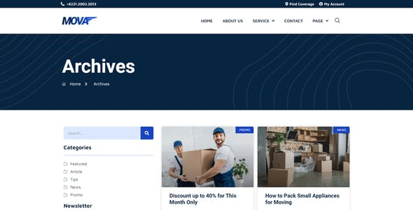 Mova - Moving Company Elementor Template Kit