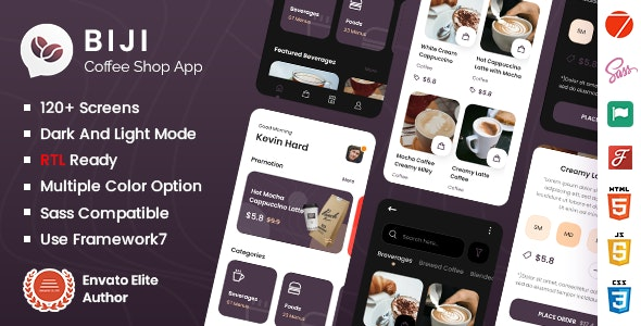 Biji - Coffee Shop Mobile App Framework7 Template - Mobile Site Templates