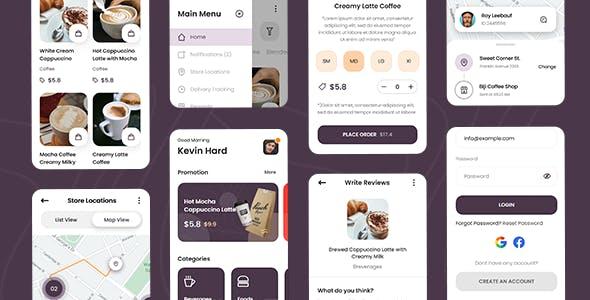 Biji - Coffee Shop Mobile App Framework7 Template