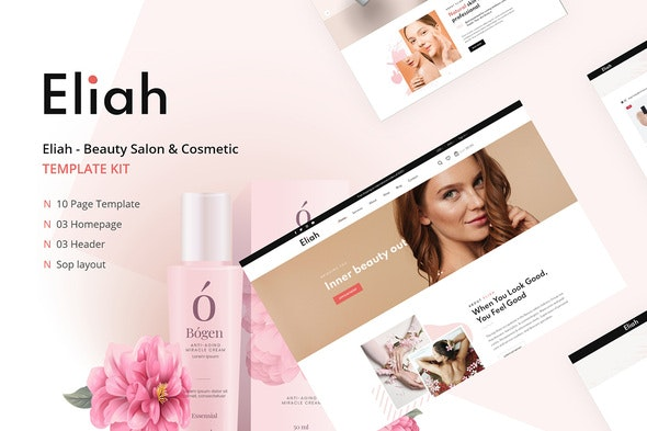 Eliah - Beauty Salon & Cosmetic Elementor Template Kit - Fashion & Beauty Elementor