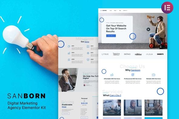 Sanborn - Digital Marketing Agency Elementor Template Kit - Creative & Design Elementor