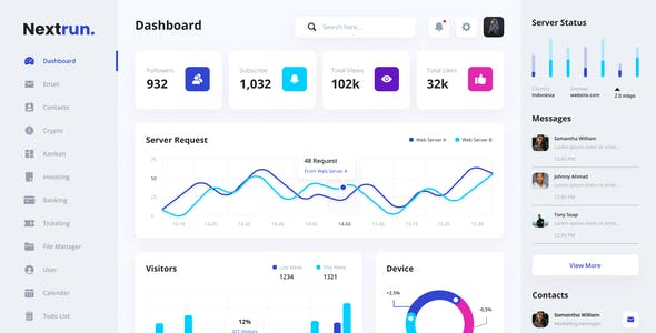 Nextrun - Neat and Clean Admin Dashboard Template Sketch