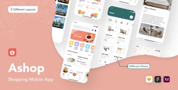 Ashop - Shopping Mobile App - Retail Sketch