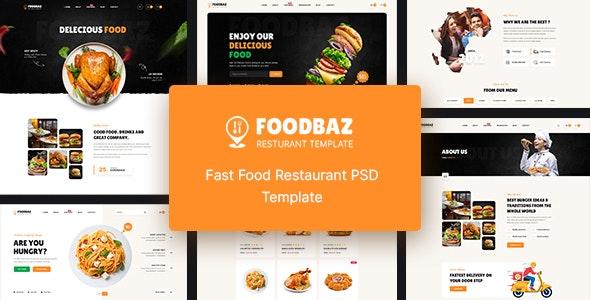Foodbaz - Fast Food Restaurant PSD Template - Restaurants & Cafes Entertainment