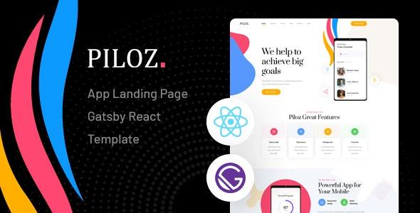 Piloz - Gatsby React App Landing Page Template - Technology Site Templates
