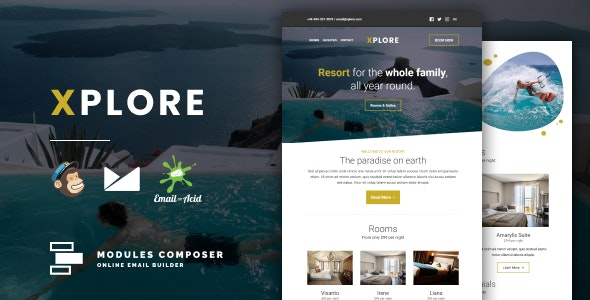 Xplore - Responsive Email for Hotels, Booking & Traveling with Online Builder - Email Templates Marketing