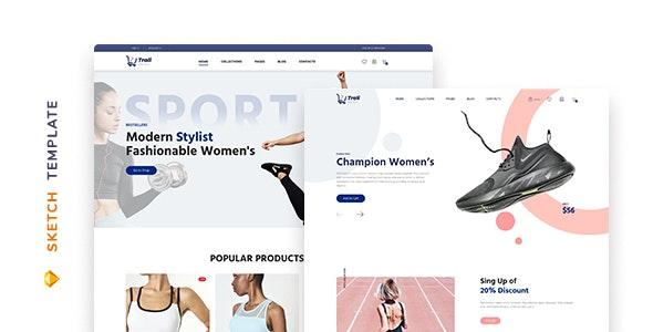 Trali – eCommerce Sportswear Template for Sketch - Fashion Retail