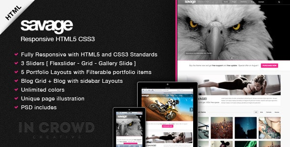 Savage - Responsive HTML5 - Creative Site Templates