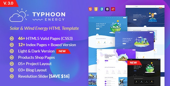 Typhoon - Solar & wind Energy HTML Template - Business Corporate