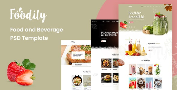 Foodily - Food and Beverage Shop PSD Template - Food Retail