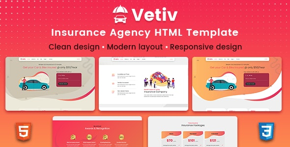Vetiv - Insurance Agency HTML Template - Creative Site Templates