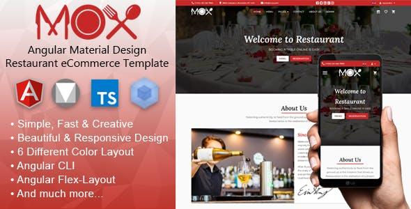 Mox - Angular 12 Material Design Restaurant eCommerce Template + Admin Panel