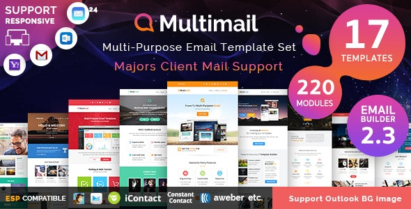 Multimail | Responsive Email Template Set + Builder Online - Newsletters Email Templates